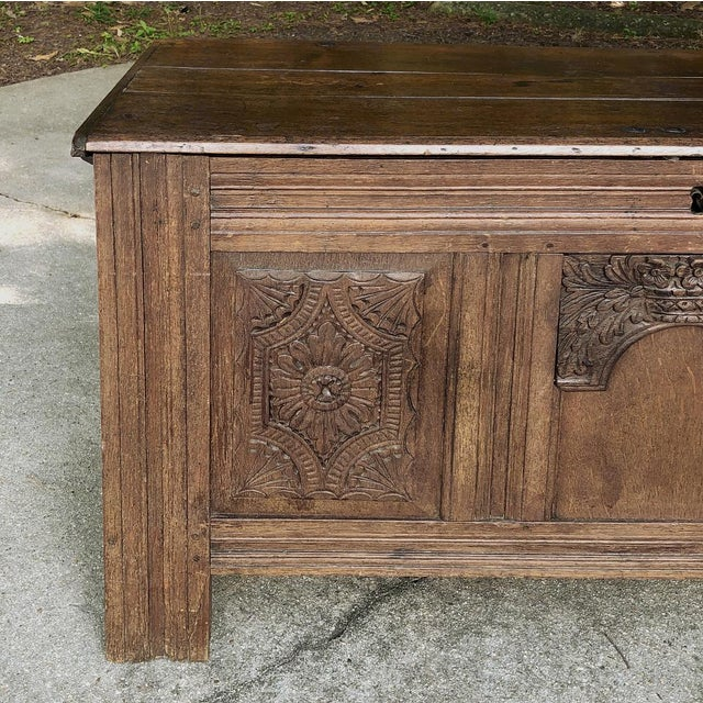Early 19th Century Country French Rustic Oak Trunk For Sale - Image 4 of 13