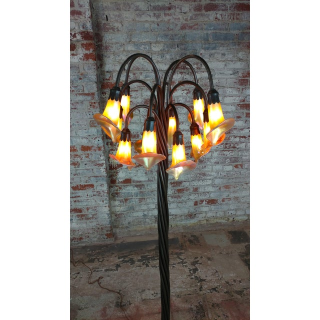 Sophisticated beautiful lilly bronze floor lamp w12 art glass beautiful lilly bronze floor lamp w12 art glass lights image 9 of 10 aloadofball Images