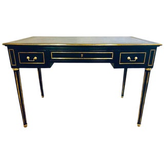Ebony Jansen Style Hollywood Regency Bronze Mounted Writing Table or Desk For Sale