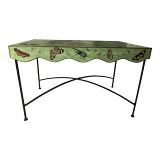 Whimsical Flora and Fauna Iron and Metal Decoupage Cocktail Table For Sale
