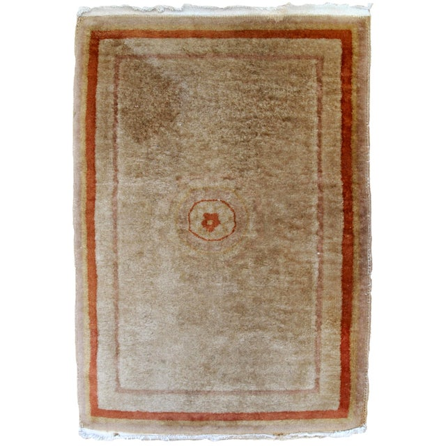 Red 1970s, Handmade Vintage Art Deco Chinese Rug 2.1' X 3.2' For Sale - Image 8 of 8