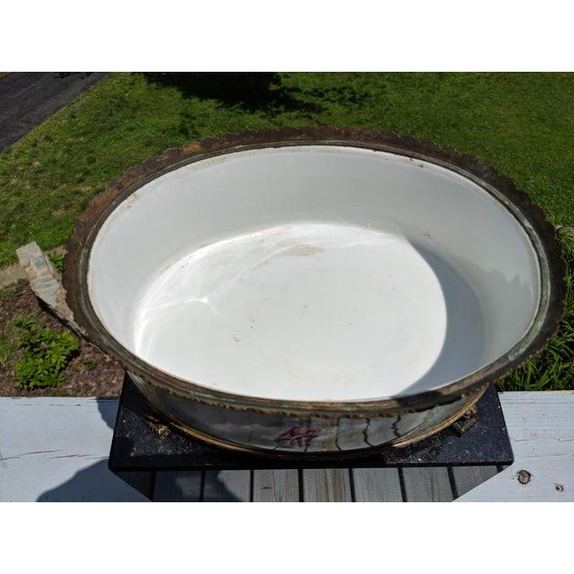 1800s Sevres-Style Rose Pompadour Porcelain Gilded Bronze Trim Oval Cachepot For Sale - Image 9 of 13