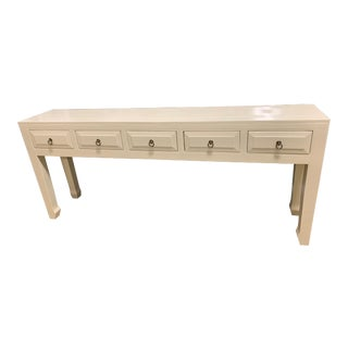 Ming Parchment White 5 Drawer Console Table For Sale