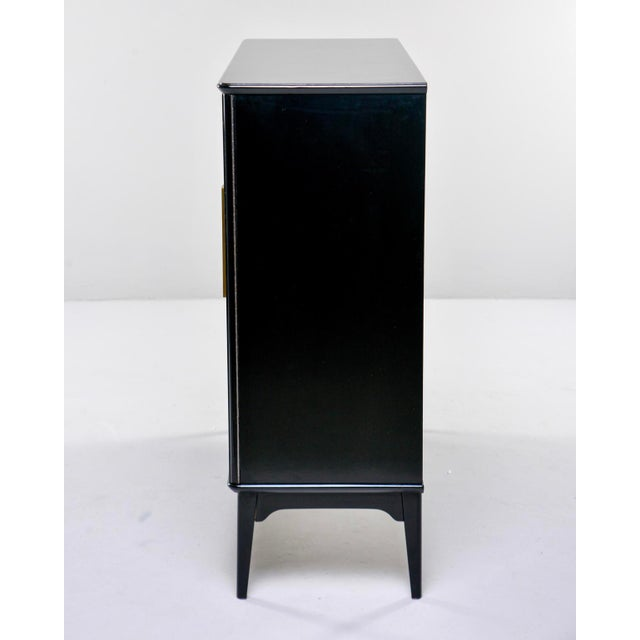 Mid Century Swedish Ebonized Two-Door Cabinet With New Brass Hardware For Sale - Image 9 of 11
