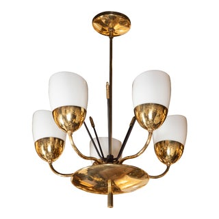 Italian Mid-Century Modern Brass, Enamel and Frosted Glass Five-Arm Chandelier For Sale