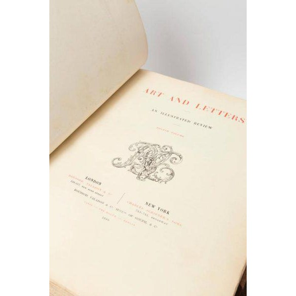 """Eight Volume Set of Leather Bound Books Titled """"Art and Letters"""" From the 19th Century For Sale In Nashville - Image 6 of 9"""