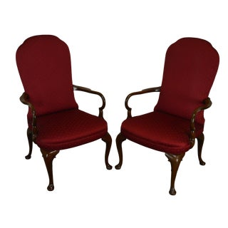 Kittinger Custom Mahogany Pair Queen Anne Arm Chairs For Sale
