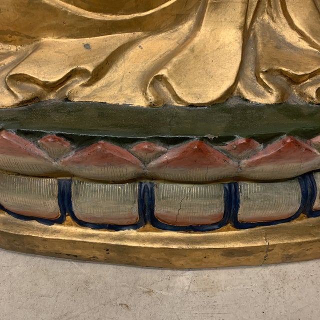 1970s Lifesize Hand Carved Solid Wood Gold Leaf Buddha For Sale - Image 5 of 13