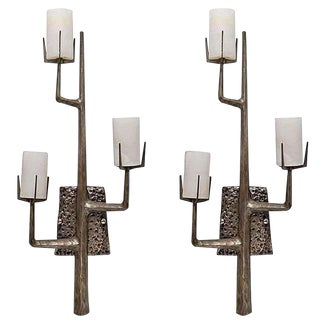 Felix Agostini Style Organic Modernist Wall Sconces in Silver, Pair For Sale