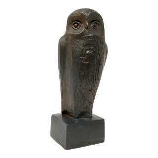 1970s Vintage Austin Productions Bronze Finish Plaster Owl Sculpture For Sale