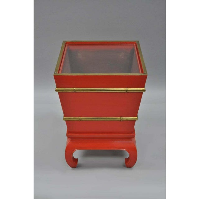 Unique vintage chinoiserie red lacquered solid wood accent table on base. Item features 2 part solid wood dovetail...