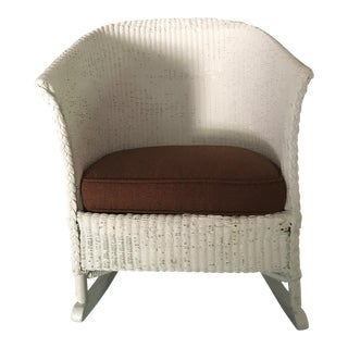 Lloyd Loom White Wicker Rocker With Upholstered Seat For Sale