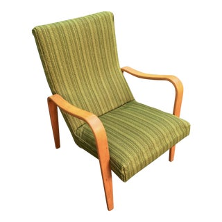 Mid-Century Modern Thonet Green Bentwood Lounge Chair For Sale