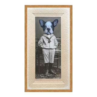 French Bulldog by Anja Wuelfing in Gold Frame, Small Art Print For Sale