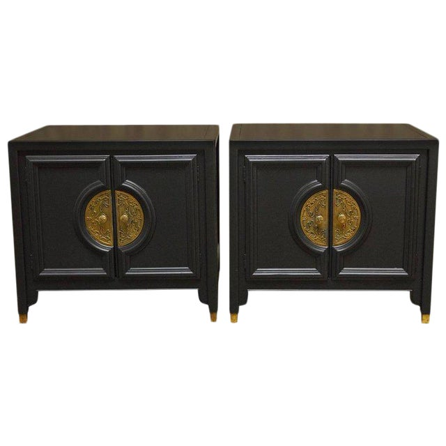 James Mont Style Century Furniture Lacquer Nightstands - a Pair For Sale