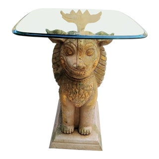 Palm Beach Regency Monumental Lion Foo Dog Glass Top Side Table For Sale