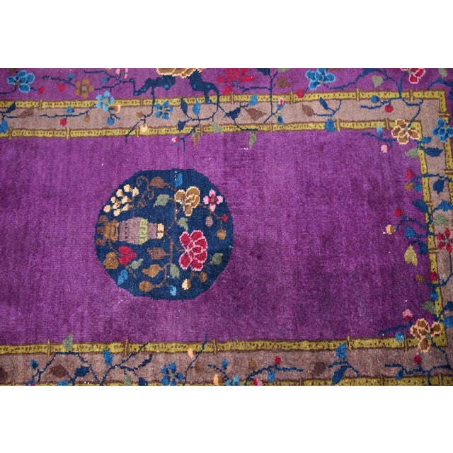 Textile 1920s, Hand Made Antique Art Deco Chinese Rug 2.10' X 4.9' For Sale - Image 7 of 13