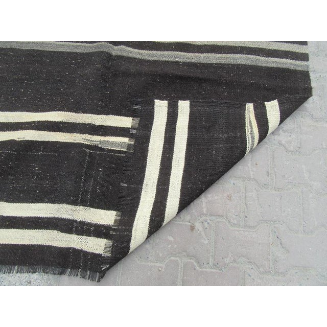 "Vintage Striped Kilim Rug - 5'1"" x 10'5"" For Sale - Image 5 of 6"