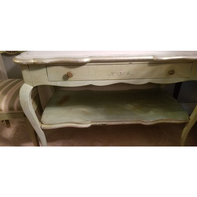 Art Deco White Mablre Top 1930s Italian Painted Console or Dressing Table For Sale - Image 3 of 13