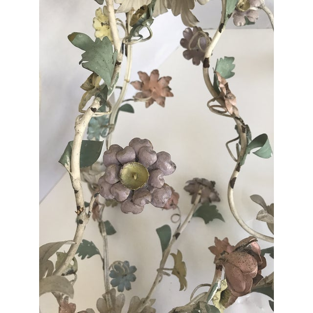Vintage Tole Pastel Floral 3 Light Chandelier - Image 4 of 5