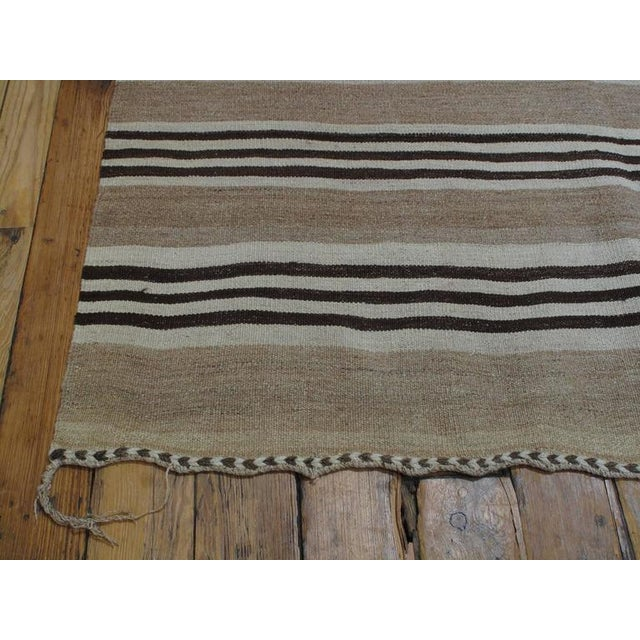 Gray Striped Kilim Wide Runner in Natural Brown For Sale - Image 8 of 9