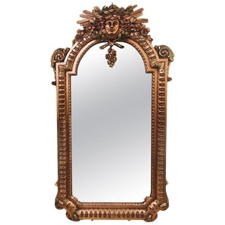 Hollywood Regency Carved Wall Console or Over the Mantle Mirror For Sale