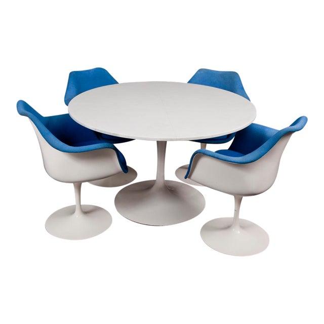 Mid-Century Modern Saarinen for Knoll Marble & Cast Iron Tulip Dining Set For Sale