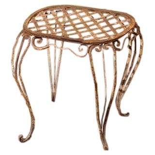 Pair Of 19th Century French Iron Garden Stools For Sale
