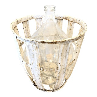 Antique European Demijohn With Basket For Sale