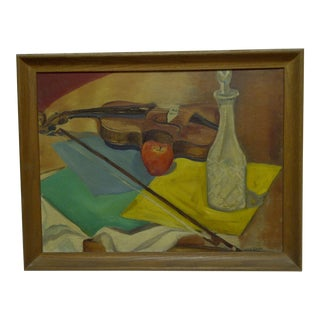 "E. Emerick ""Violin"" Original Framed Painting on Board"