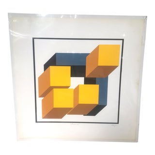 1980s Vintage Alfredo Orozco Geometric Op Art Lithograph Print For Sale