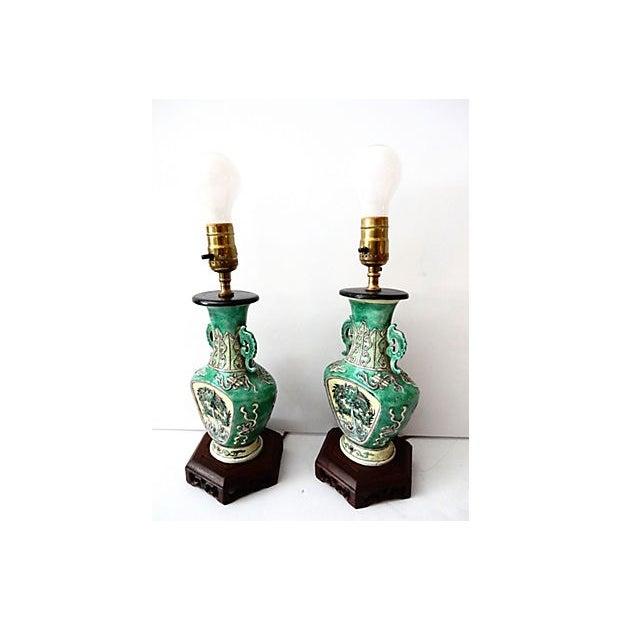 19th C. Porcelain Dragons Lamp - Pair - Image 10 of 10