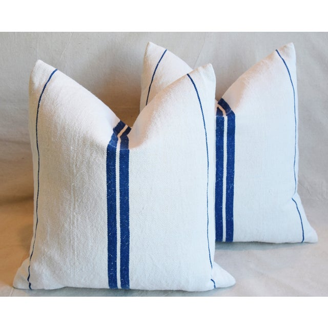 """French Blue Striped Grain-Sack Feather/Down Pillows 20"""" Square- Pair For Sale - Image 11 of 11"""