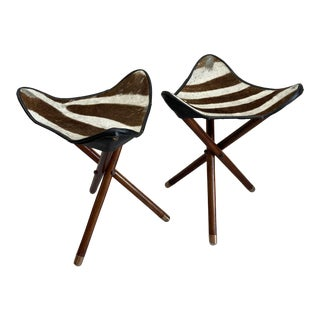 1950s Vintage Zimmerman of Nairobi Zebra Campaign Stools - A Pair For Sale