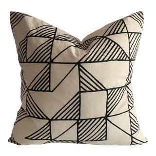 Boho Chic Shadow Block Organic Cotton Pillow For Sale
