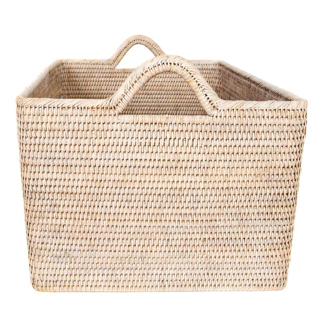 Artifacts Rattan Basket With Hoop Handles For Sale - Image 4 of 6