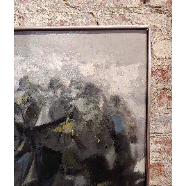 Black Juan Ruiz Chamizo -Procession of Nuns - Oil Painting C.1965 For Sale - Image 8 of 11