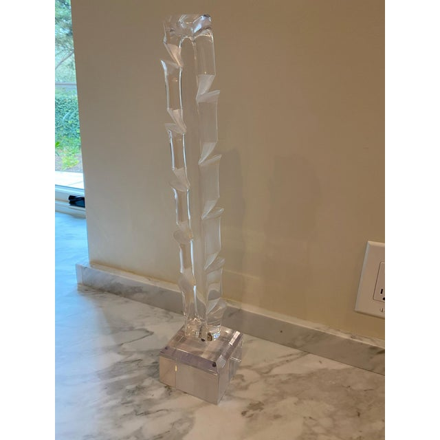 Plastic Vintage 1970s Lucite Sculpture on Stand For Sale - Image 7 of 7