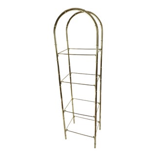 Hollywood Regency Faux Bamboo Arch Shaped Brass Etagere Frame