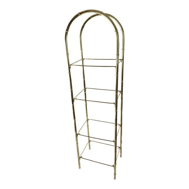 Hollywood Regency Faux Bamboo Arch Shaped Brass Etagere Frame For Sale