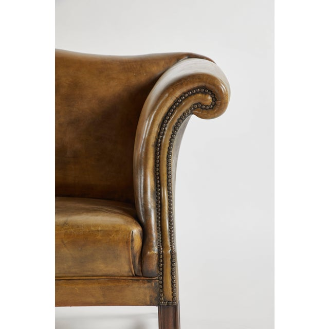 Early 20th Century Leather Settee Sofa on Mahogany Base For Sale - Image 4 of 7