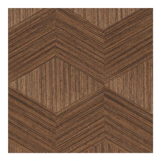 Schumacher Chevron Inlay Wallpaper in Walnut