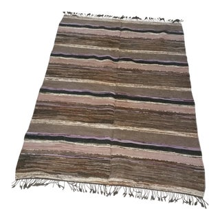 Swedish Handmade Rag Rug - 4′8″ × 7′1″ For Sale