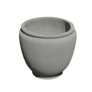 Round Urn Planter in Natural Concrete For Sale