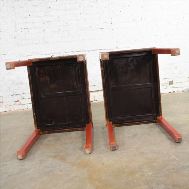 Mid 20th Century Asian Ming Style Chinese Crackle Red Lacquer Rectangular End Tables - a Pair For Sale - Image 12 of 13