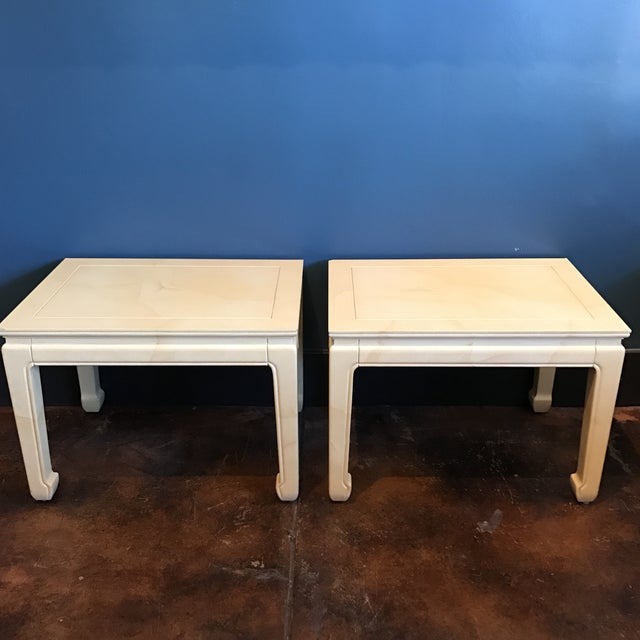 Henredon Goatskin Lacquered End Tables - a Pair - Image 2 of 9