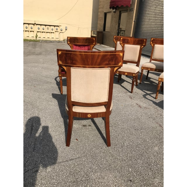 1910s Vintage Biedermeier Style Flame Mahogany Dining Chairs- Set of 8 For Sale - Image 11 of 13