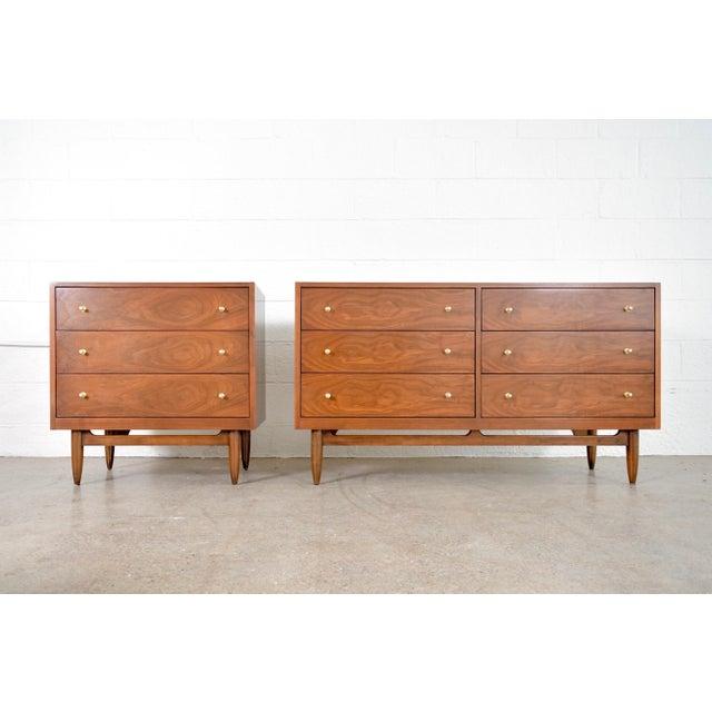 Mid Century Mt. Airy 6-Drawer Lowboy Walnut Dresser For Sale - Image 10 of 11