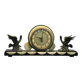 French Art Deco Marble & Onyx Mantel Clock With Flying Herons