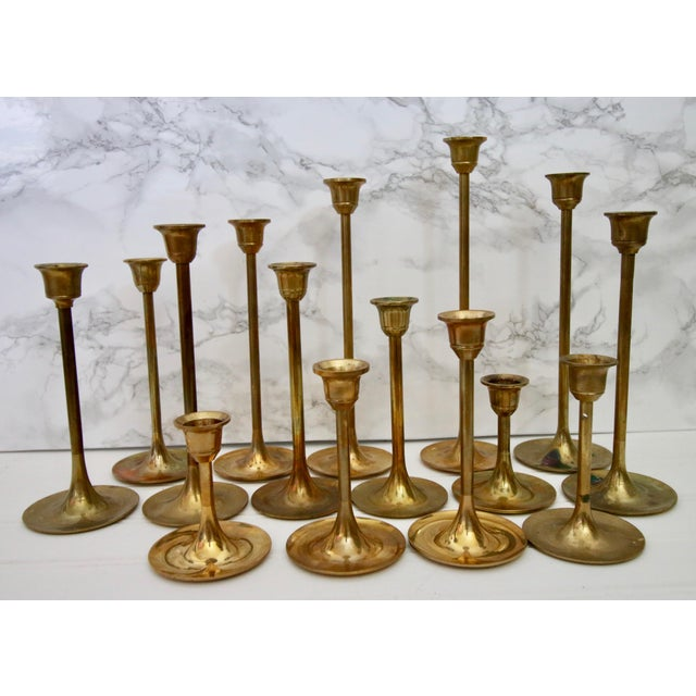 Lot of 15 Vintage Brass Graduated Tulip Candle Stick Holders - Image 2 of 6